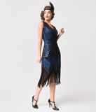 Unique Vintage 1920s Deco Navy Blue & Black Sequin Veronique Fringe Flapper Dress