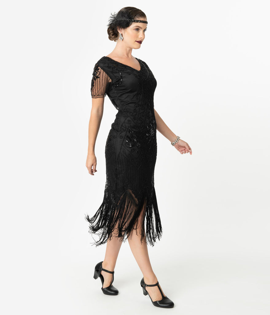 Unique Vintage Black Beaded Short Sleeve Fringe Valentine Cocktail Flapper Dress
