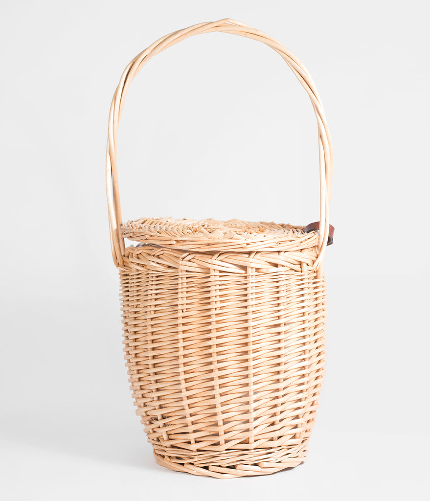 Tan Woven Wicker Basket Handbag