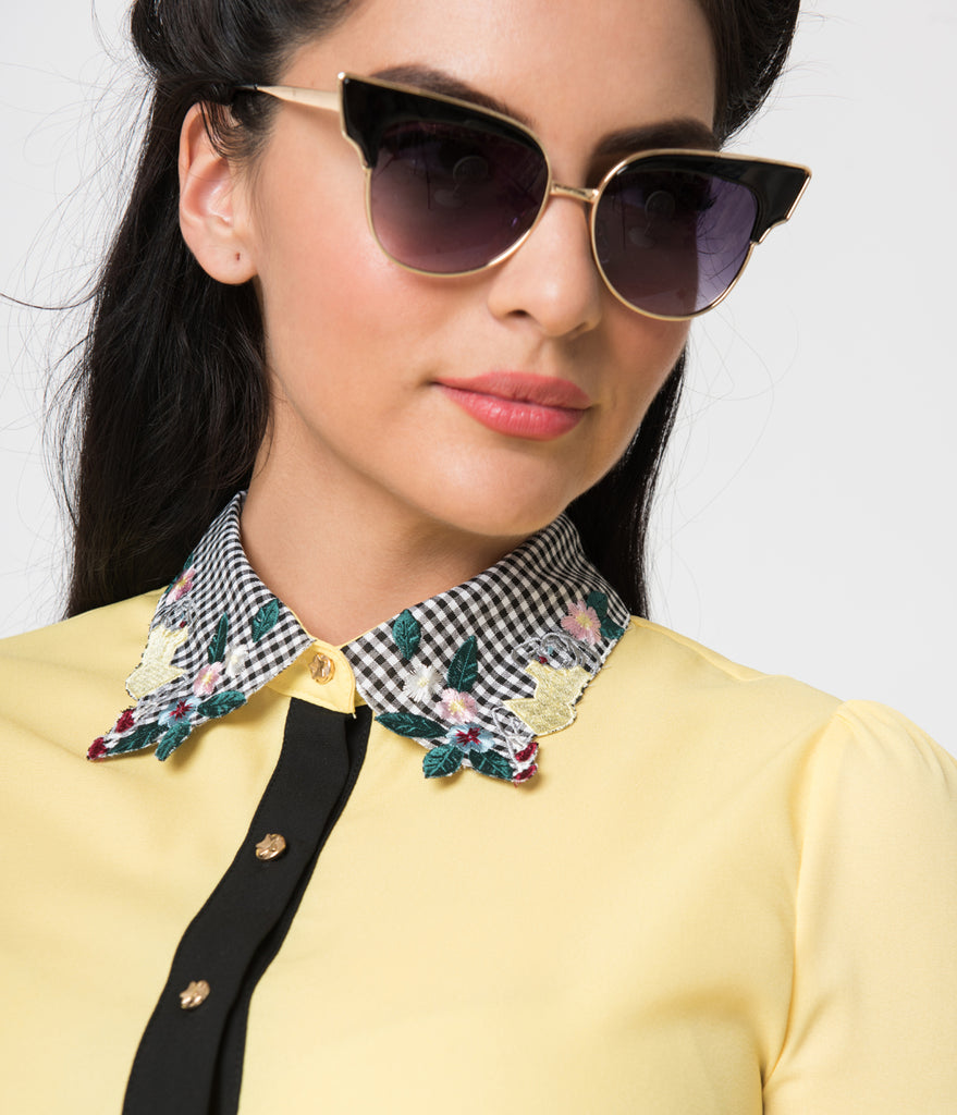 Yellow & Black Trim Gingham Embroidered Collar Button Up Chiffon Blouse