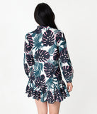 Navy Blue & White Tropical Print Long Sleeved Drop Waist Dress