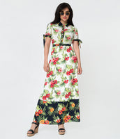 Tall Floral Print Vintage Colorblocking Button Closure Hidden Side Zipper Fitted Short Sleeves Sleeves Collared High-Neck Crepe Maxi Dress