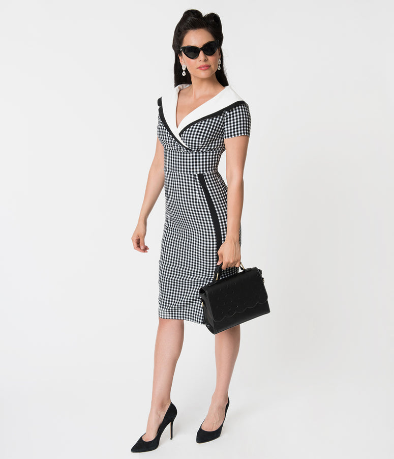 Vintage Diva Black & White Gingham Short Sleeve Collared Greta Wiggle Dress