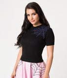 Black & Purple Spider Web Enchantress Bobbie Sweater Knit Top