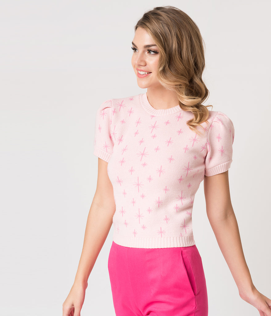 1940s Style Pink Strawberry Stars Penelope Sweater Top