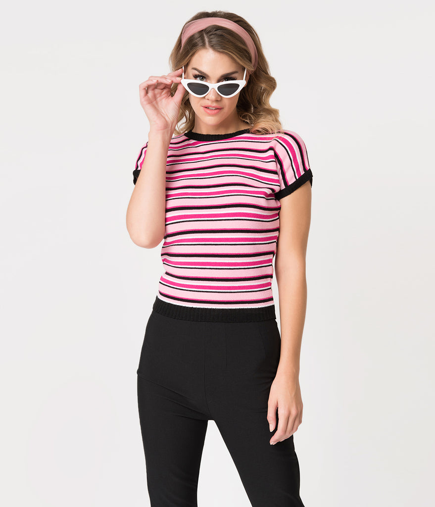 1940s Style Pink & Black Striped Bad Girl Candy Daphne Sweater Top