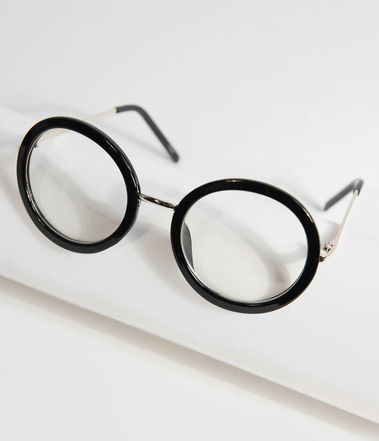 Retro Style Black Round Glasses