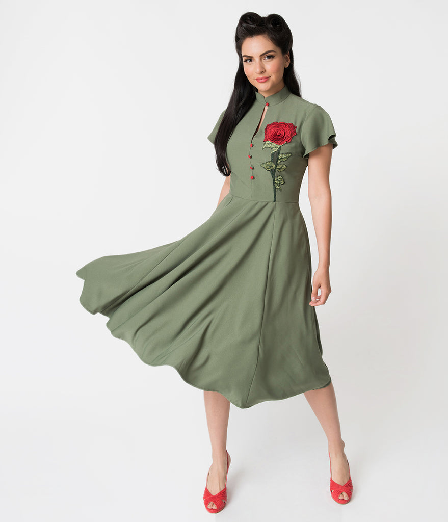 18739437caca8 Unique Vintage 1950s Olive Green & Embroidered Red Rose Baltimore Swin