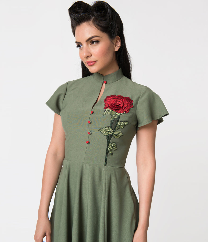Unique Vintage 1950s Olive Green & Embroidered Red Rose Baltimore Swing Dress