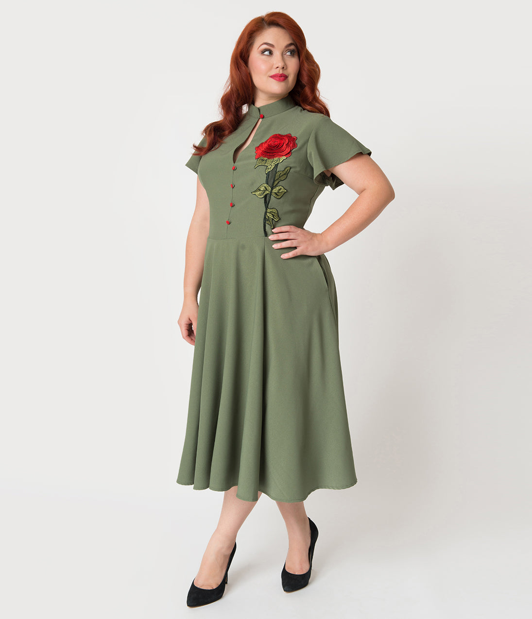 1950s Plus Size Dresses, Clothing and Costumes Unique Vintage Plus Size 1950S Olive Green  Embroidered Red Rose Baltimore Swing Dress $98.00 AT vintagedancer.com
