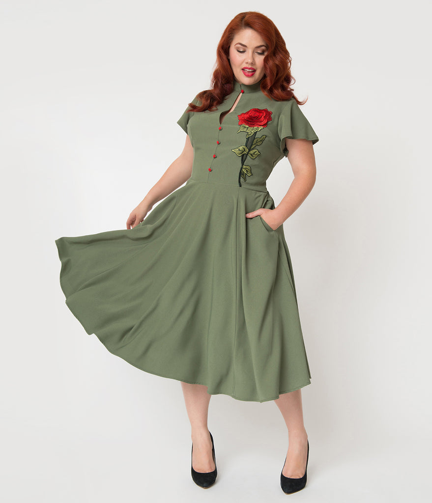 Unique Vintage Plus Size 1950s Olive Green & Embroidered Red Rose Baltimore Swing Dress