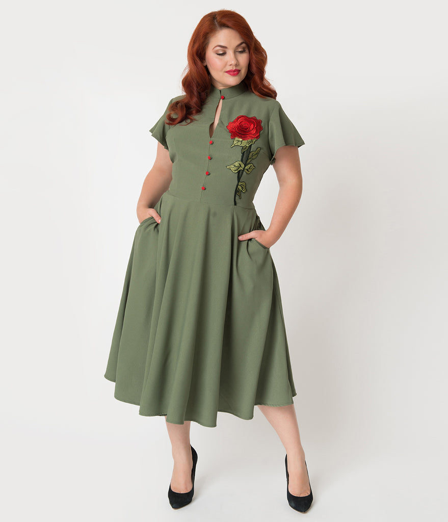 e16617a0ee3 ... Unique Vintage Plus Size 1950s Olive Green   Embroidered Red Rose  Baltimore Swing Dress