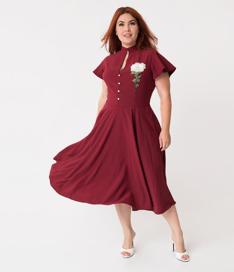 Unique Vintage Plus Size 1950s Burgundy & Embroidered White Rose Baltimore Swing Dress