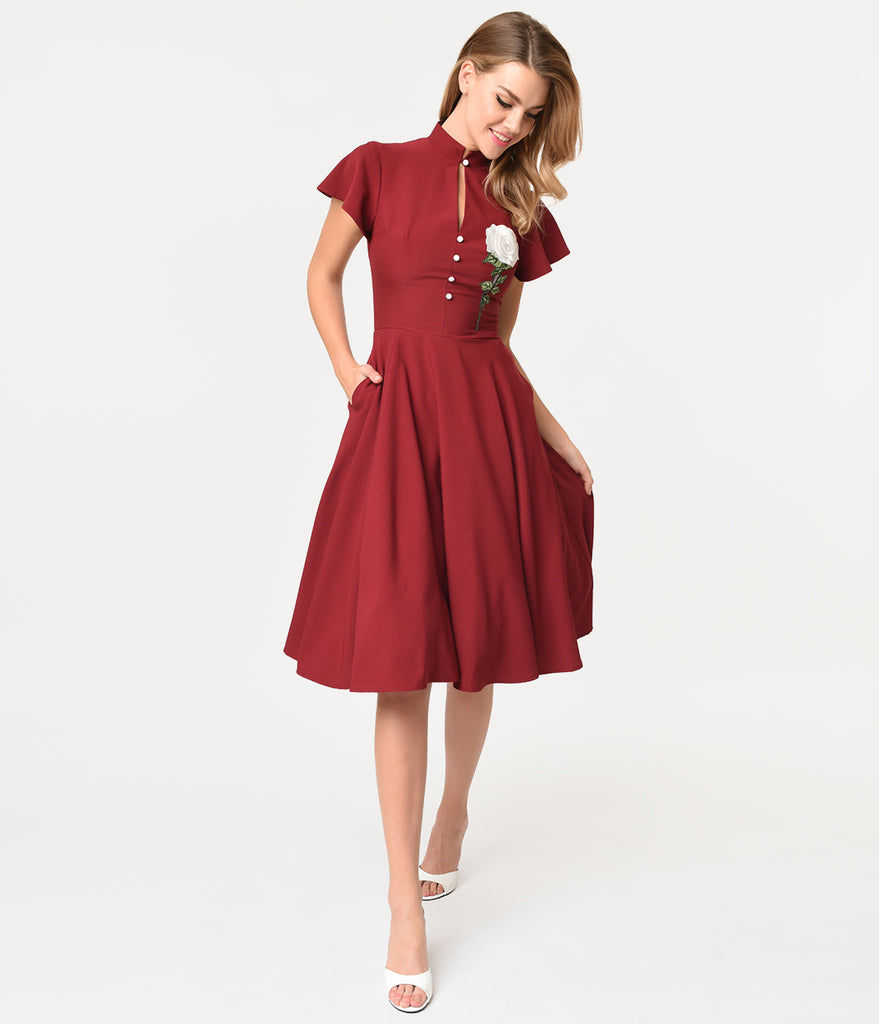 Unique Vintage 1950s Burgundy & Embroidered White Rose Baltimore Swing Dress