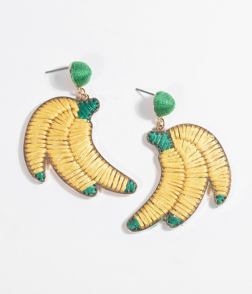 Yellow Banana Thread Woven Drop Earrings