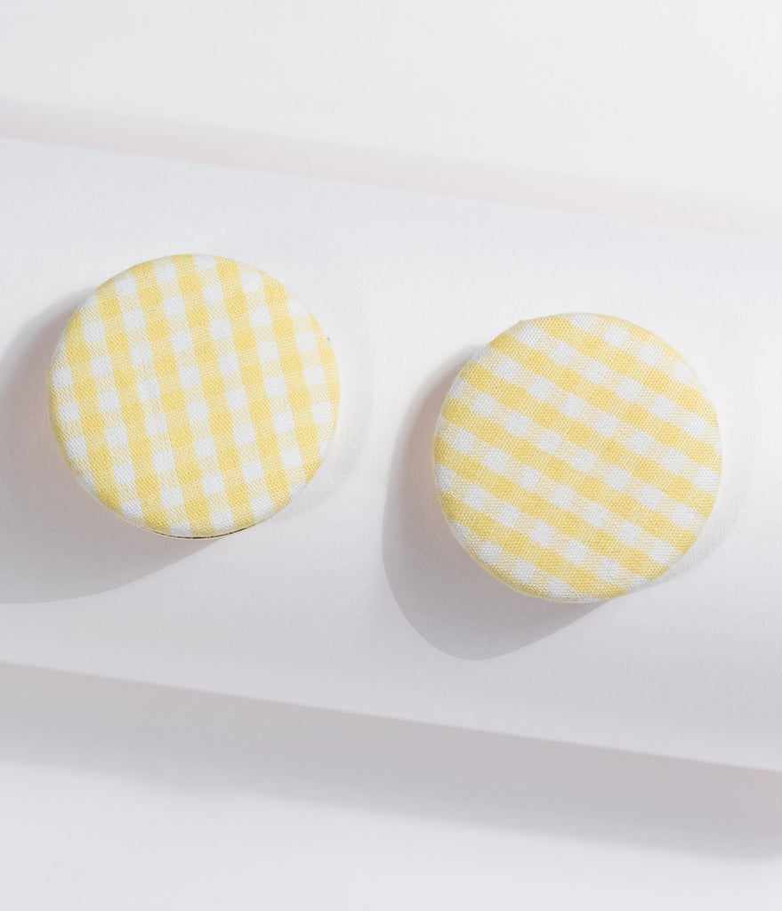 Yellow Gingham Large Round Earrings
