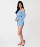 Blue & White Striped Watermelon Printed Off The Shoulder Bell Sleeved Romper