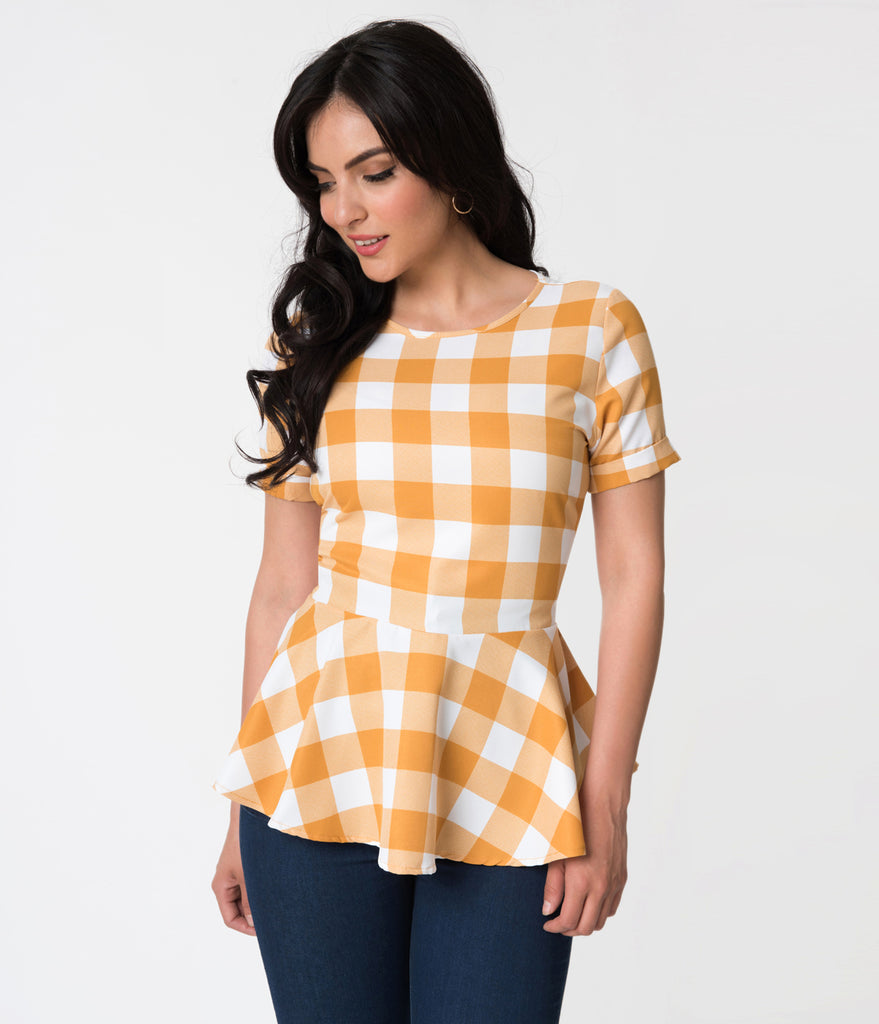 Mustard Yellow & White Checkered Print Peplum Short Sleeve Blouse