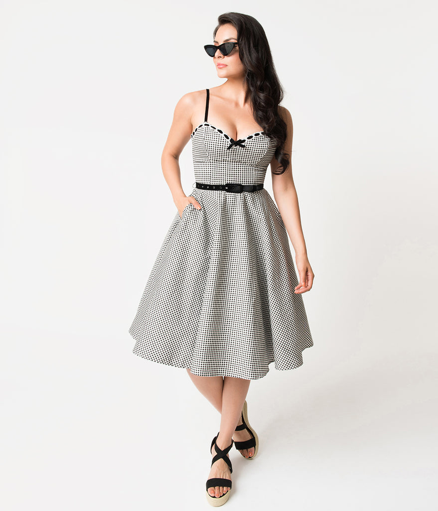 Micheline Pitt For Unique Vintage 1950s Style Black & White Gingham Belle Swing Dress