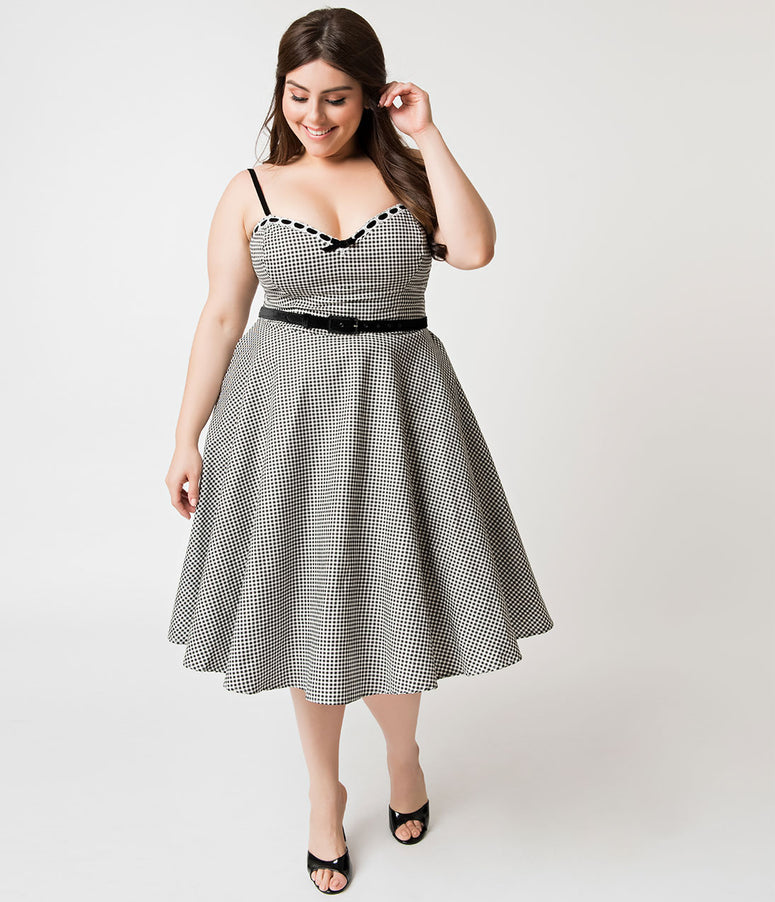 Micheline Pitt For Unique Vintage Plus Size 1950s Style Black & White Gingham Belle Swing Dress