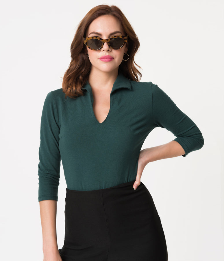Vixen by Micheline Pitt Hunter Green Cotton Stretch Vixen Top