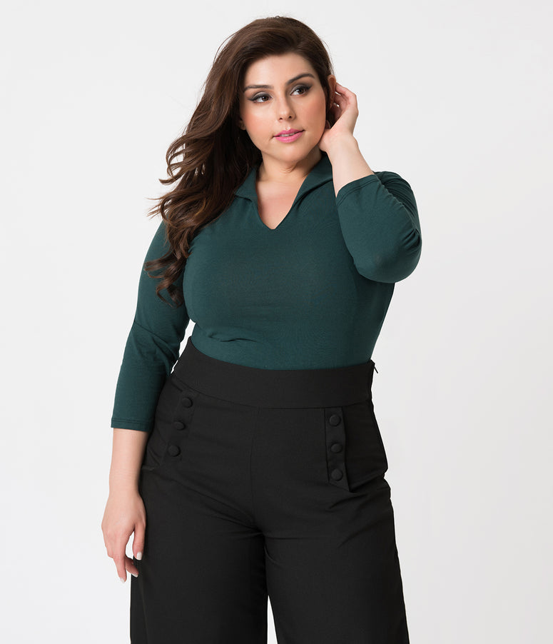 Vixen by Micheline Pitt Plus Size Hunter Green Cotton Stretch Vixen Top