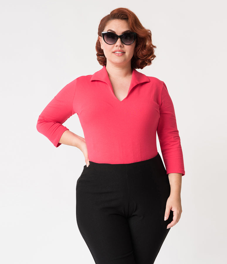 Vixen by Micheline Pitt Plus Size Hot Pink Rose Cotton Stretch Vixen Top