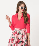 Vixen by Micheline Pitt Hot Pink Rose Cotton Stretch Vixen Top