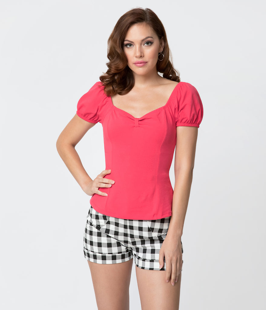 Vixen by Micheline Pitt Rose Pink Cotton Stretch Powder Puff Top