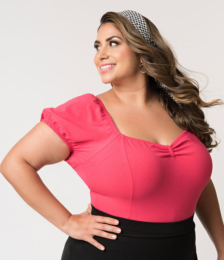 Vixen by Micheline Pitt Plus Size Rose Pink Cotton Stretch Powder Puff Top