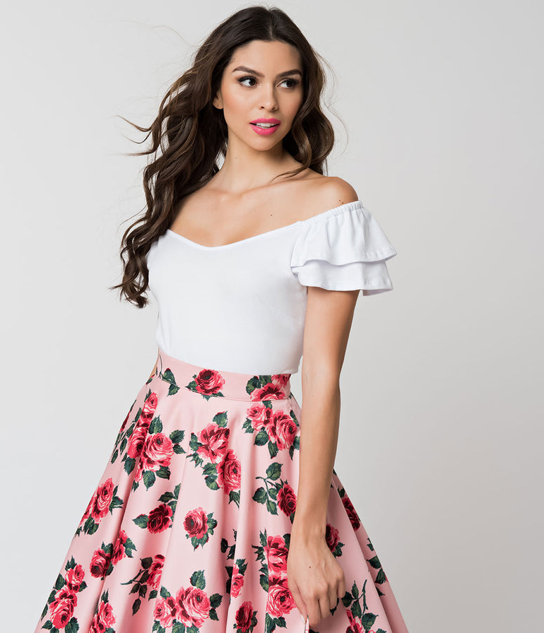 Vixen by Micheline Pitt White Off Shoulder Ruffle Lolita Top