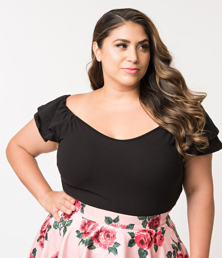 Vixen by Micheline Pitt Plus Size Black Off Shoulder Ruffle Lolita Top