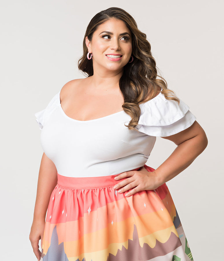 Vixen by Micheline Pitt Plus Size White Off Shoulder Ruffle Lolita Top