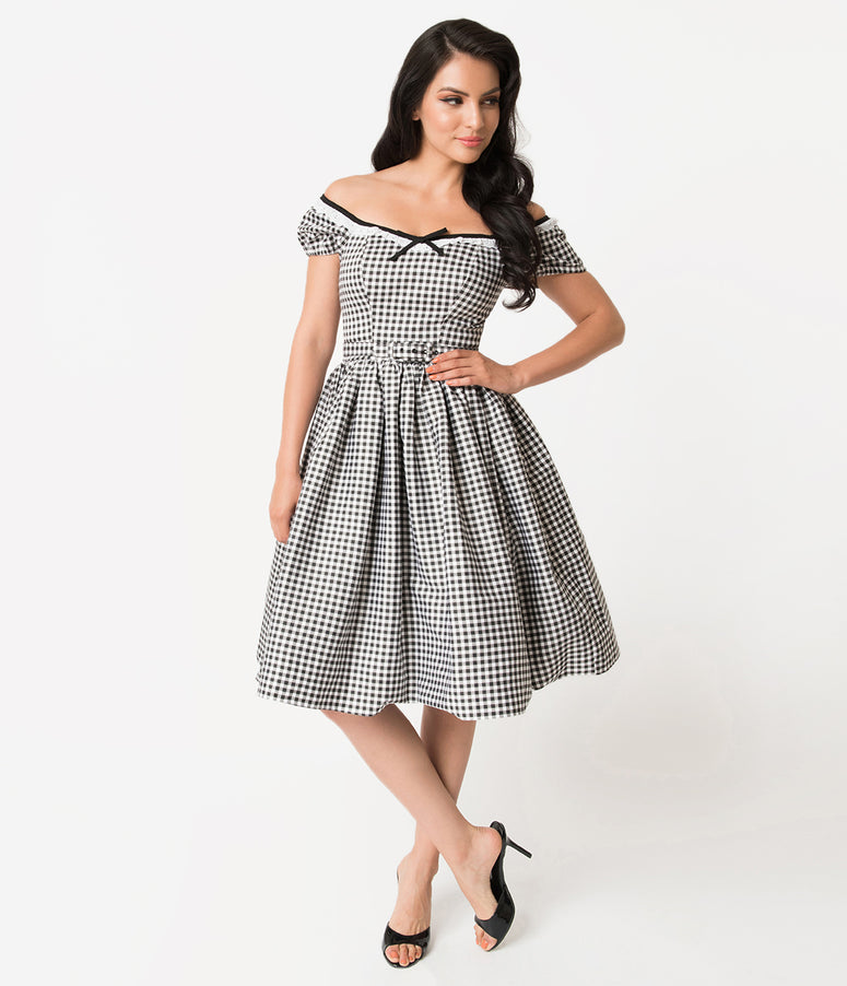 Vixen by Micheline Pitt Black & White Gingham Bardot Beauty Swing Dress
