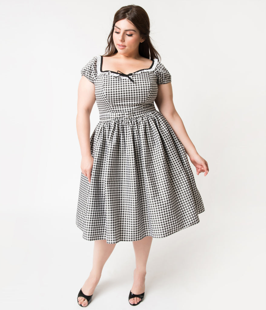 Vixen by Micheline Pitt Plus Size Black & White Gingham Bardot Beauty Swing Dress