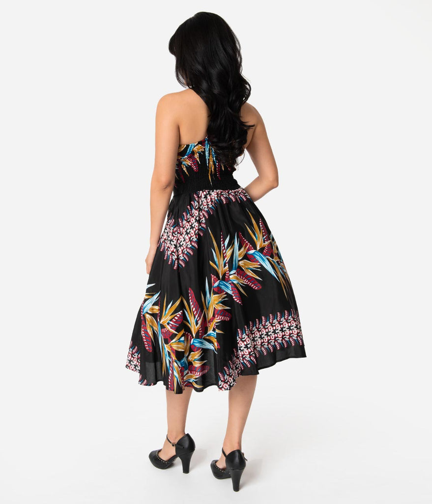 b554c5391606 ... Unique Vintage x Kamehameha Bird Of Paradise Hawaiian Print Kalani  Swing Dress ...