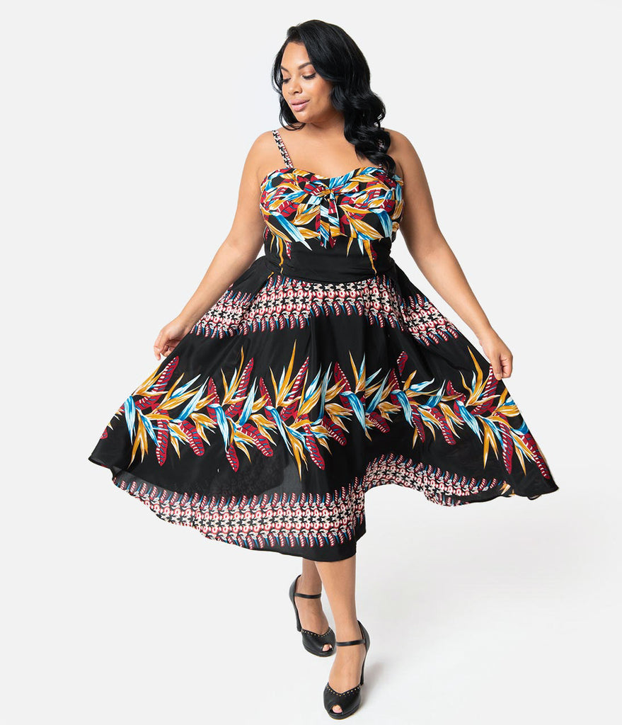 Unique Vintage x Kamehameha Plus Size Bird Of Paradise Hawaiian Print Kalani Swing Dress
