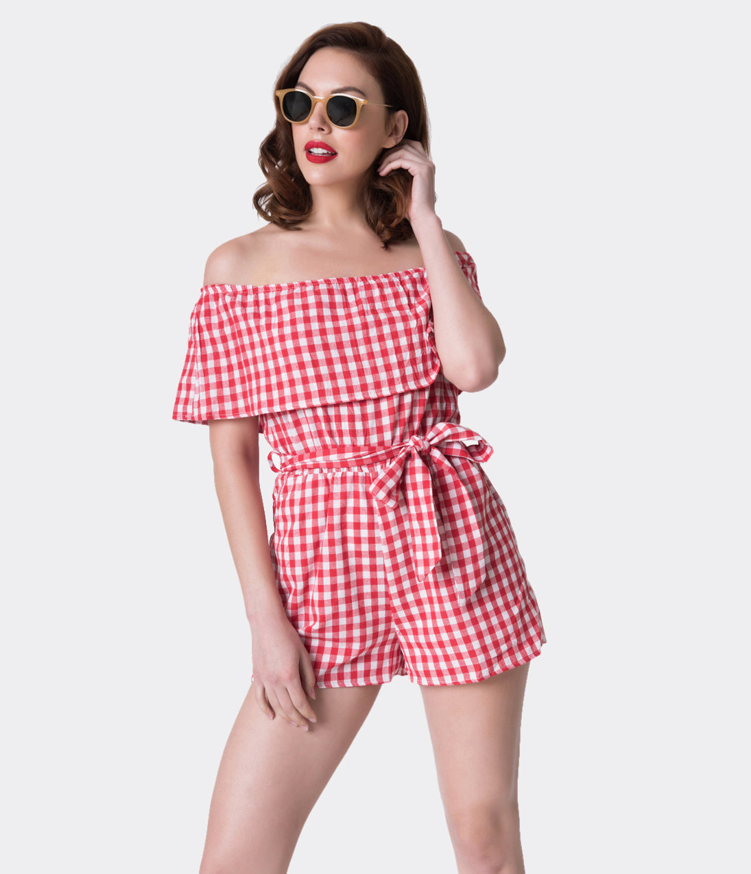 Vintage Rompers | Retro, Pin Up, Rockabilly Playsuits Retro Style Red  White Gingham Off The Shoulder Romper $42.00 AT vintagedancer.com