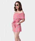 Retro Style Red & White Gingham Off The Shoulder Romper