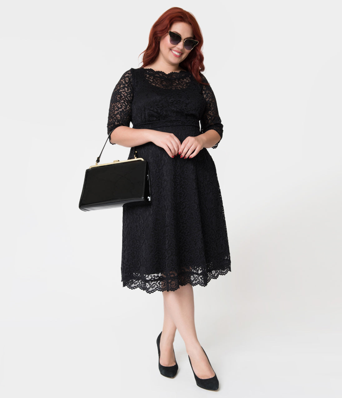 Plus Size Swing Dresses, Vintage Dresses Plus Size Onyx Floral Lace Over Lay Sleeved Lacey Cocktail Dress $118.00 AT vintagedancer.com