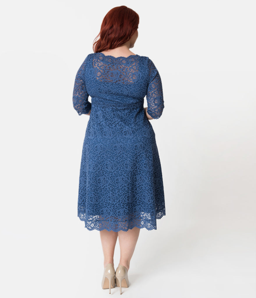 Plus Size Blue Bird Floral Lace Over Lay Sleeved Lacey Cocktail Dress