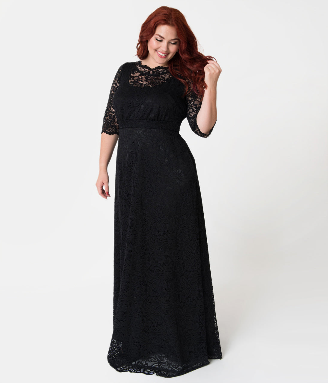 1950s Style Cocktail Dresses & Gowns Plus Size Black Scalloped Floral Lace Sleeved Leona Gown $190.00 AT vintagedancer.com