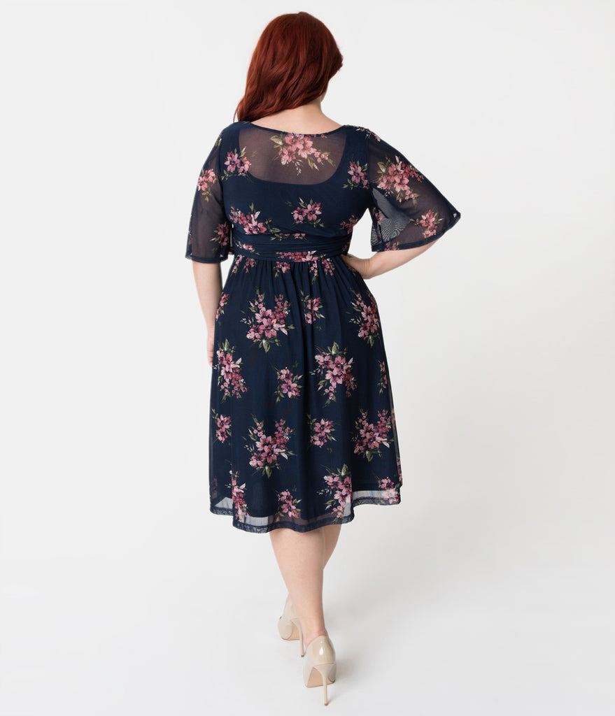Plus Size Navy Blue & Pink Lily Printed Mesh Katarina A-Line Dress