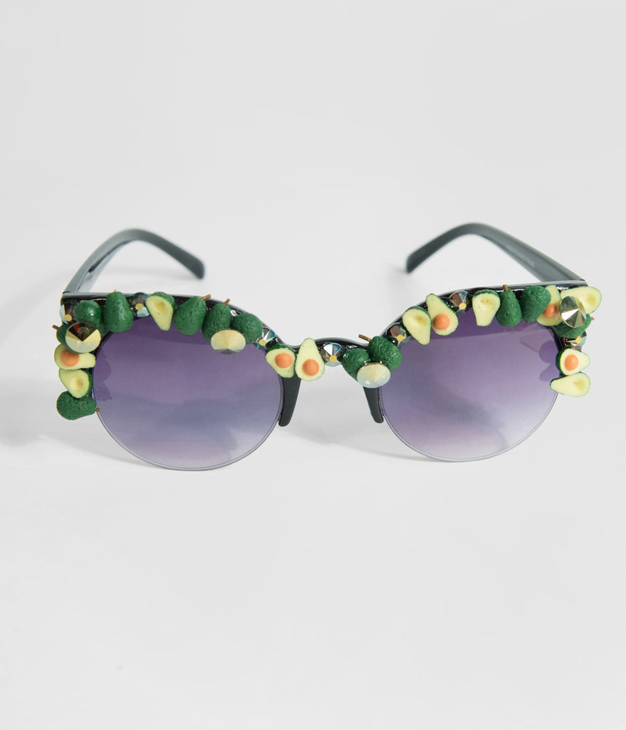 Holy Tacomole Sparkling Avocado Half Frame Sunglasses