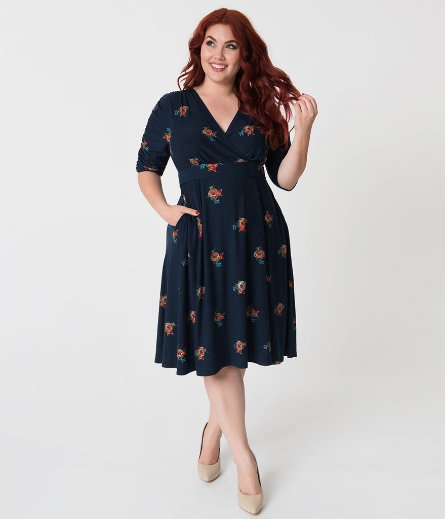 Retro Style Plus Size Navy Blue & Posey Print Gabriella Jersey Dress
