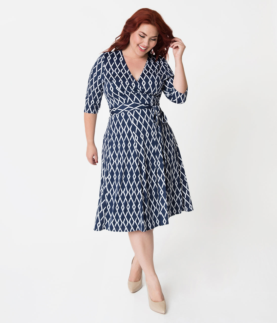 1960s Dresses – A Rainbow of 50 Dresses (Pictures) Retro Style Plus Size Navy Blue  White Pattern Sleeved Essential Wrap Dress $88.00 AT vintagedancer.com
