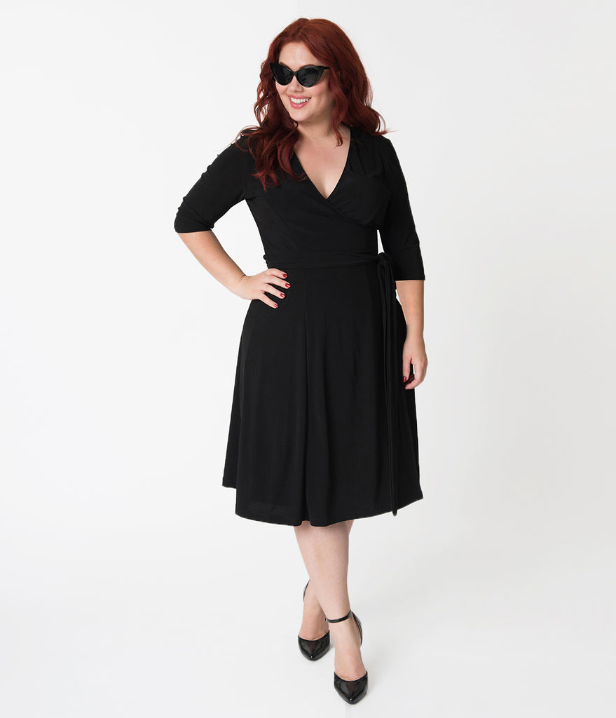 Retro Style Plus Size Black Sleeved Essential Wrap Dress