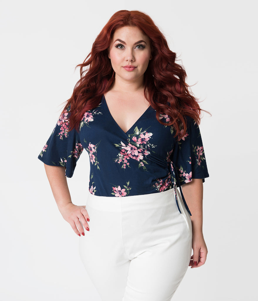 Plus Size Wrap Style Navy Blue & Pink Lily Print Stella Cinch Top