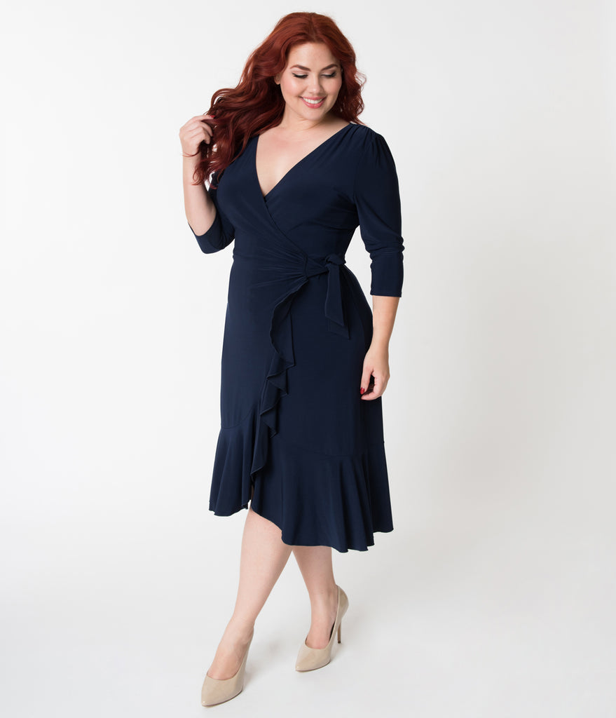 2f1d2ab42fe Plus Size Navy Blue Three-Quarter Sleeved Whimsy Wrap Dress – Unique Vintage