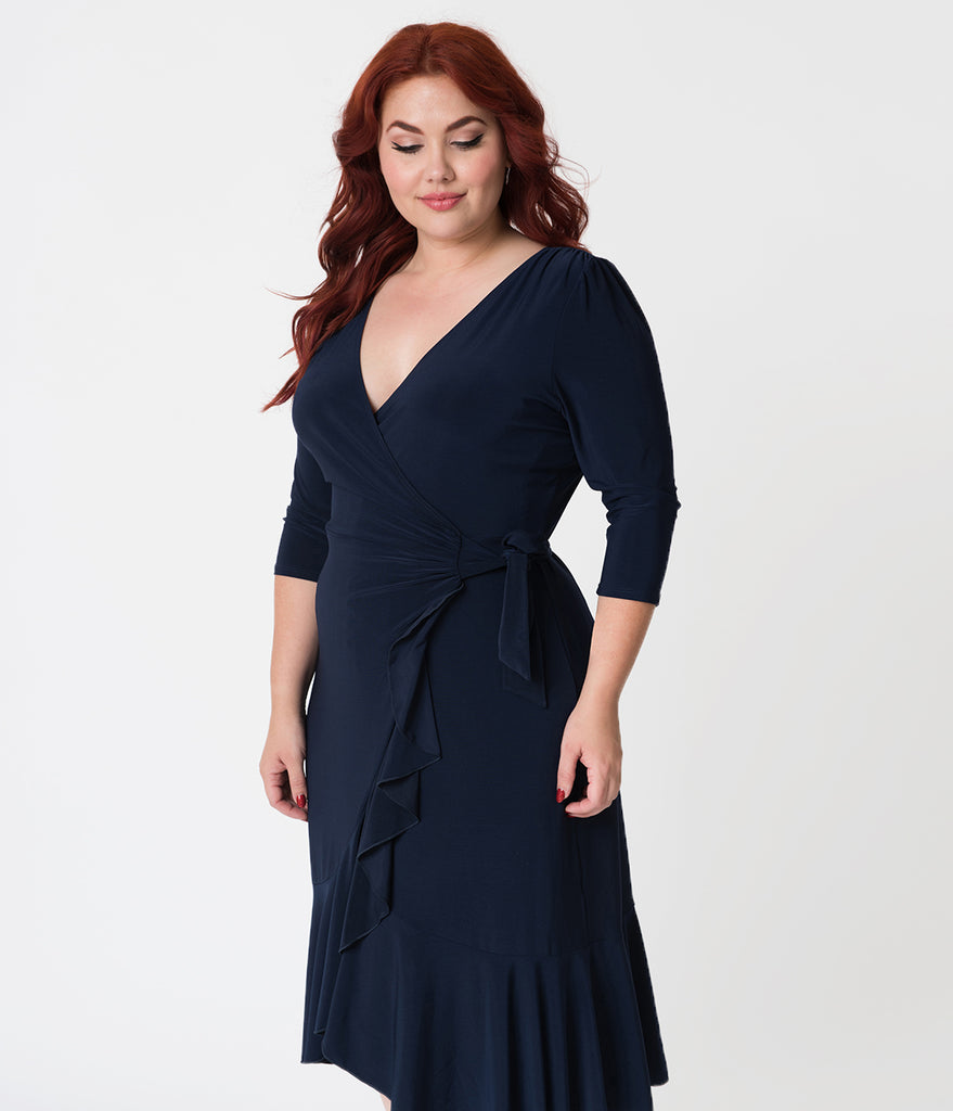 Plus Size Navy Blue Three-Quarter Sleeved Whimsy Wrap Dress